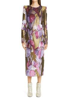 Dries Van Noten Diaia Iris Metallic Long Sleeve Dress