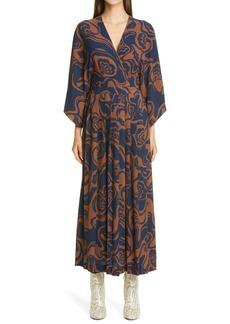 Dries Van Noten Dinoose Floral Pleated Faux Wrap Dress
