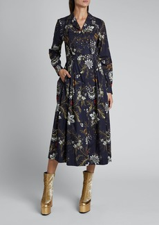 Dries Van Noten Dolia Cotton Floral Fan Long-Sleeve Button Pleat Dress