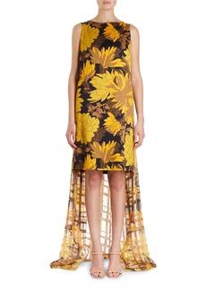 Dries Van Noten Domy Sleeveless Short Floral Dress w/ Lurex Chiffon Back Drape