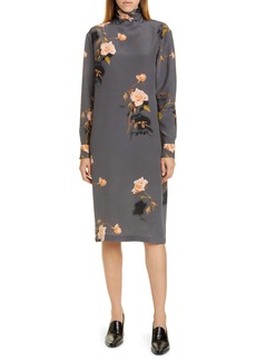 Dries Van Noten Dontisy Rose Print Silk Long Sleeve Dress