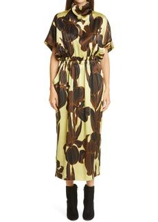 Dries Van Noten Doria Floral Print Silk Midi Dress