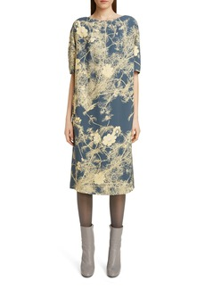 Dries Van Noten Dorine Branch Print Scuba Midi Dress