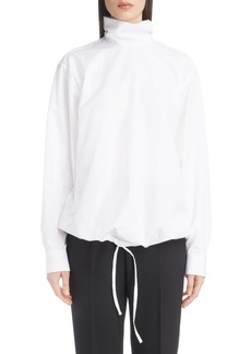 Dries Van Noten Drawstring Hem Poplin Turtleneck