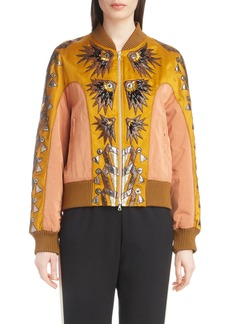 Dries Van Noten Embellished Mixed Media Bomber Jacket