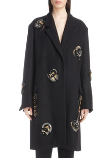 Dries Van Noten Embellished Wool Blend Coat