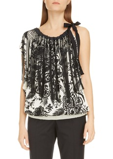 Dries Van Noten Embroidered Floral Fringe Sleeveless Top