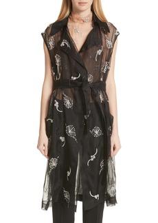 Dries Van Noten Embroidered Silk Sheer Vest