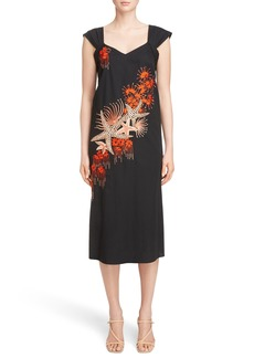Dries Van Noten Embroidered Starfish Print Dress