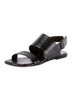 Dries Van Noten Exotic-Print Calf Flat Sandals