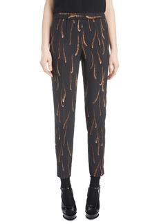 Dries Van Noten Feather Print Drawstring Crop Pants