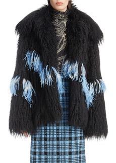 Dries Van Noten Feather Trim Faux Fur Jacket