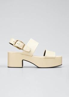 Dries Van Noten Flatform Leather Block-Heel Sandals