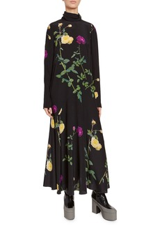 Dries Van Noten Floral Bouquet High-Neck Jersey Dress