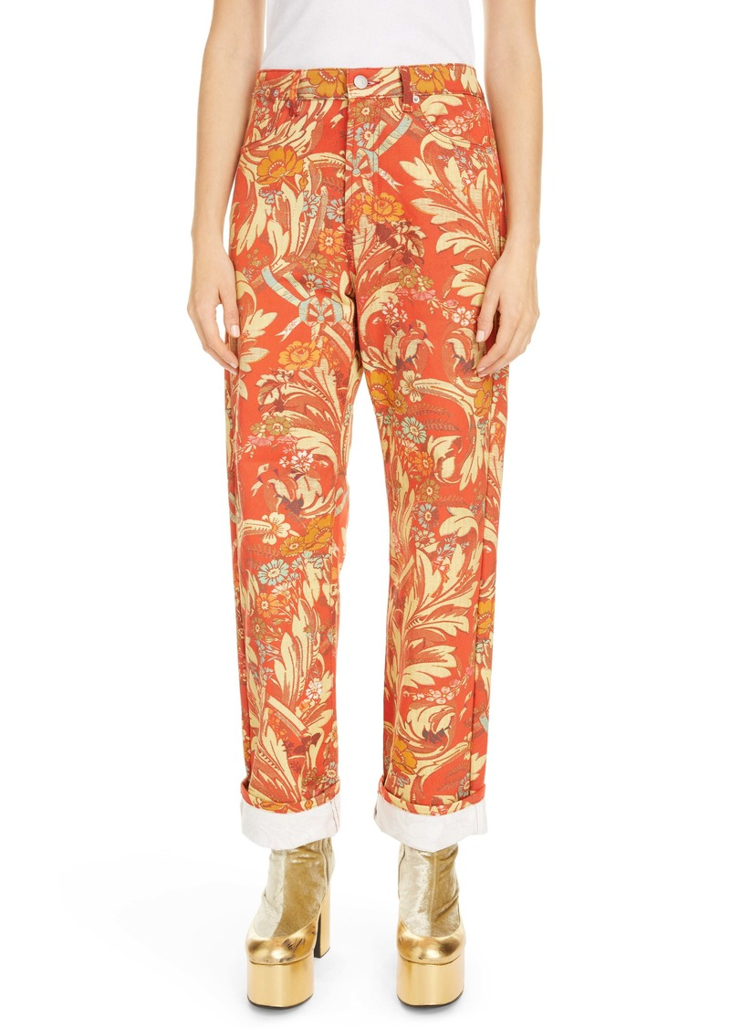 Dries Van Noten Floral Cotton Denim Cuffed Jeans