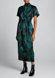 Dries Van Noten Floral High-Neck Midi Dress