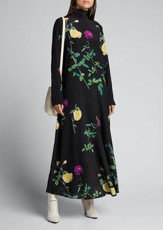 Dries Van Noten Floral High-Neck Silk Dress