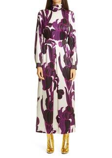 Dries Van Noten Floral Long Sleeve Silk Dress