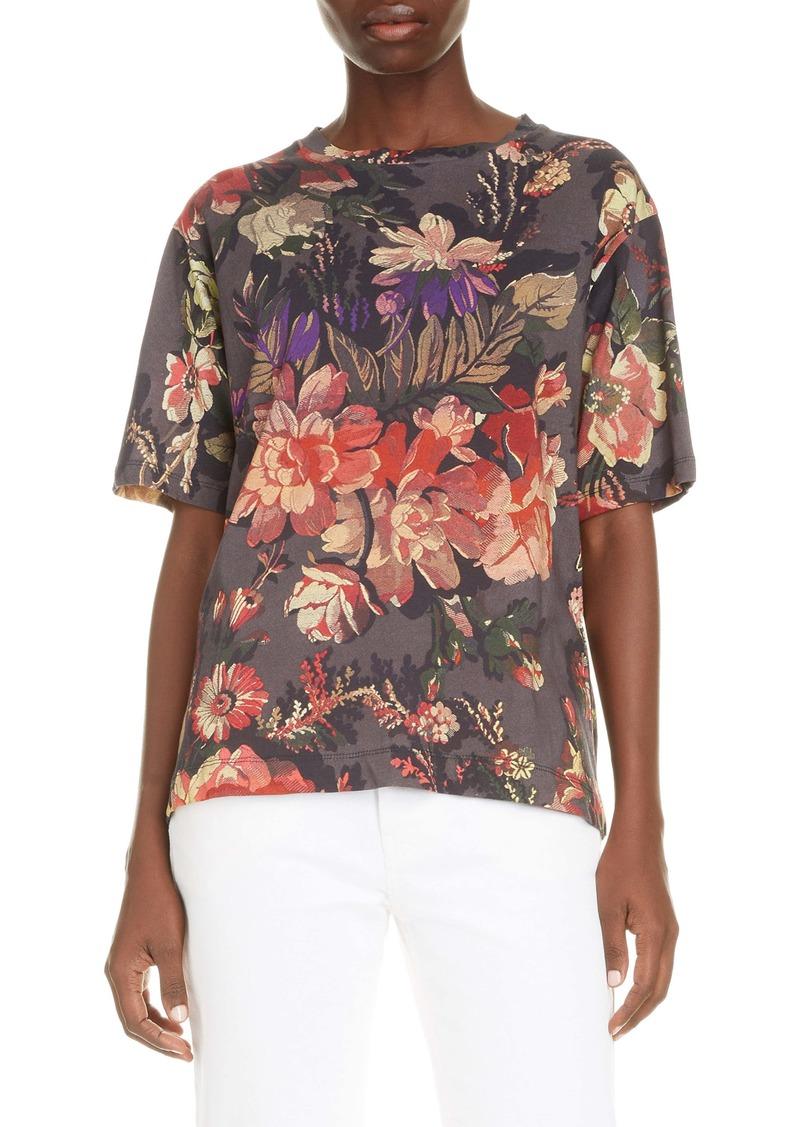 Dries Van Noten Floral Print Cotton T-Shirt