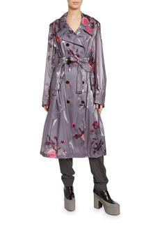 Dries Van Noten Floral-Print Faux-Leather Trench Coat