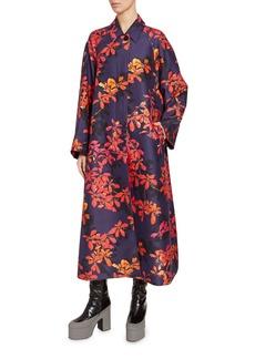 Dries Van Noten Floral Print Nylon Long Coat