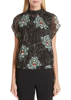 Dries Van Noten Floral Print Pleated Blouse