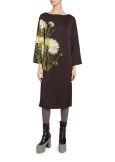 Dries Van Noten Floral Print Satin Long-Sleeve Dress