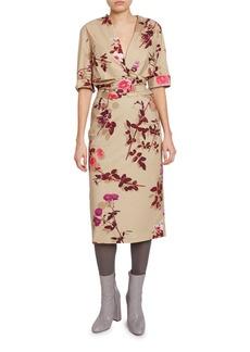 Dries Van Noten Floral-Print Wrapped V-Neck Dress
