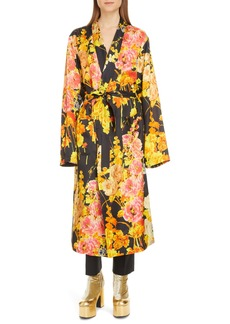 Dries Van Noten Floral Wrap Long Sleeve Dress