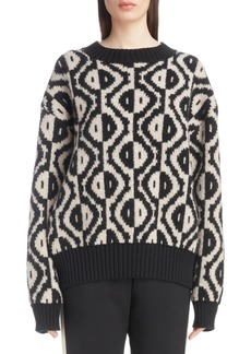 Dries Van Noten Geo Jacquard Merino Wool Blend Sweater