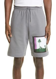 Dries Van Noten Habdo Palm Tree Graphic Cotton Shorts