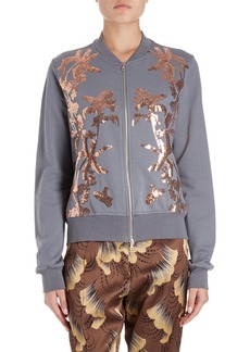 Dries Van Noten Hassold Palm-Embroidered Cotton Bomber Jacket