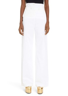Dries Van Noten High Waist Wide Leg Cotton Sailor Pants