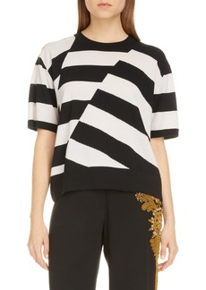 Dries Van Noten Jaslynn Asymmetrical Stripe Merino Wool Sweater