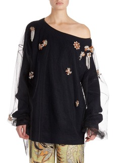 Dries Van Noten Jazma Oversized One-Shoulder Knit Sweater w/ Tulle Overlay