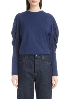 Dries Van Noten Jersey Ruched Sleeve Top