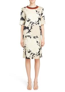 Dries Van Noten Knit Trim Floral Dress