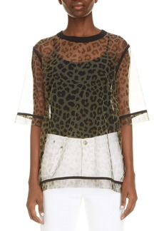 Dries Van Noten Leopard Print Sheer Mesh Top