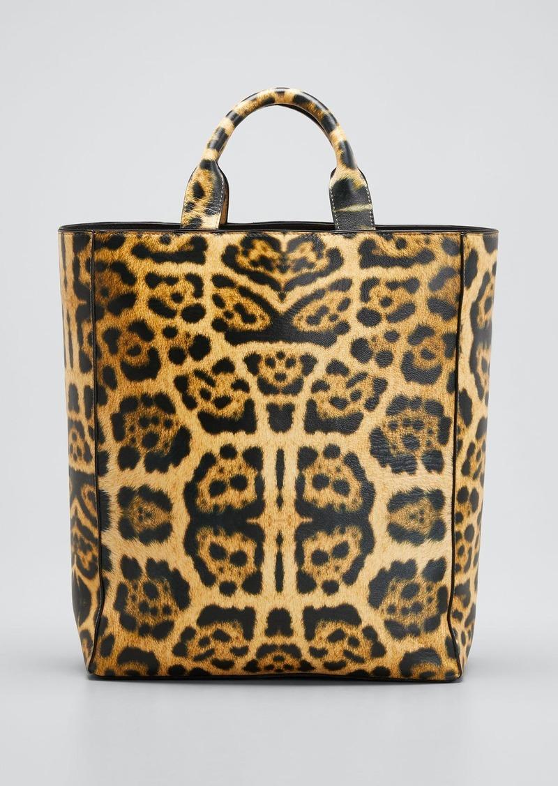 Dries Van Noten Leopard-Print Tote Bag with Shoulder Strap