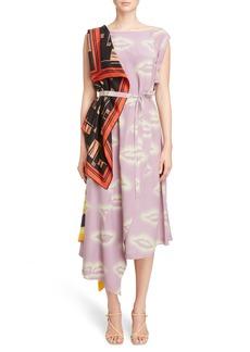 Dries Van Noten Lipstick & Scarf Print Silk Dress