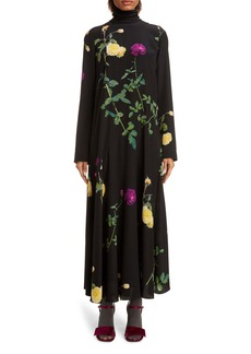 Dries Van Noten Long Sleeve Floral Silk Maxi Dress