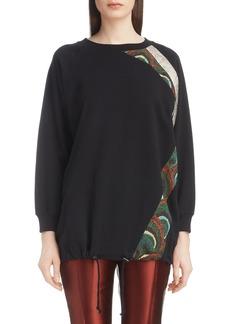 Dries Van Noten Metallic & Peacock Inset Sweatshirt
