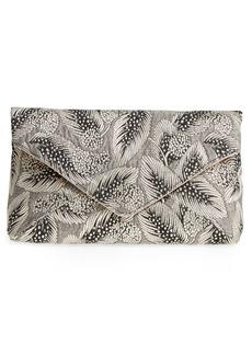 Dries Van Noten Metallic Feather Envelope Clutch