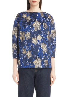 Dries Van Noten Metallic Floral Jacquard Top