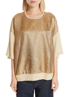 Dries Van Noten Metallic Front Knit Tee
