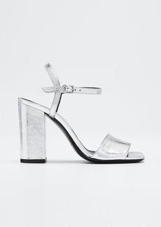 Dries Van Noten Metallic Leather Ankle Sandals