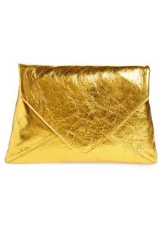 Dries Van Noten Metallic Leather Envelope Clutch