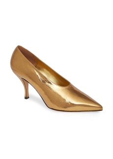Dries Van Noten Metallic Pointed Toe Pump (Women)