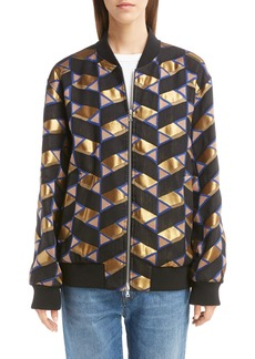 Dries Van Noten Metallic Print Oversized Bomber