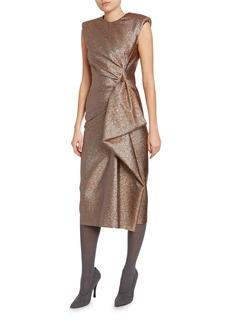 Dries Van Noten Metallic Ruched-Side Dress